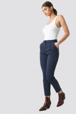 NA-KD Classic Pinstriped Suit Pants - Blue