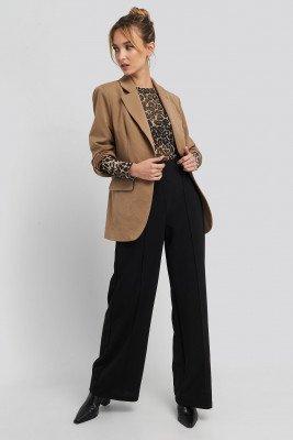 Trendyol Trendyol Stitch Detailed Wide Leg Pants - Black