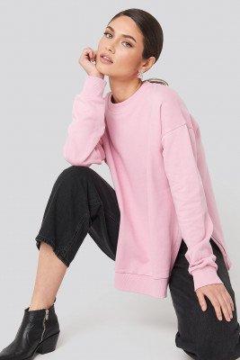 NA-KD Trend NA-KD Trend Oversized Side Slit Sweater - Pink