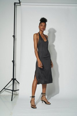 Amalie Star for nu-in 100% Recycled Deep Back Halterneck Midi Dress