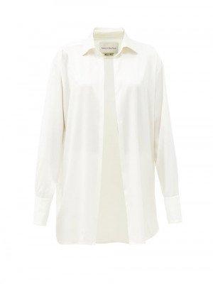 Matchesfashion Ludovic De Saint Sernin - Go To Silk-satin Shirt - Womens - White