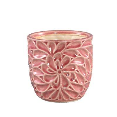 Firawonen.nl Ptmd suzu roze keramiek geglazuurd pot bloemmotief