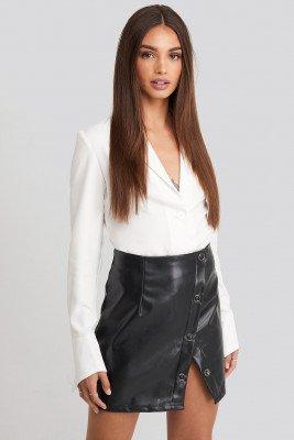 Hoss x NA-KD Buttoned Wrap Skirt - Black