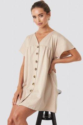 NA-KD NA-KD Button Detail Loose Fit Mini Dress - Beige