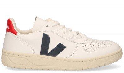 VEJA VEJA V-10 Leather Wit/Blauw/Rood Damessneakers