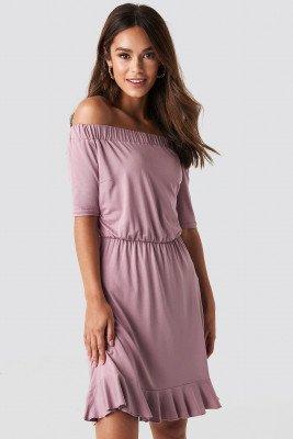 NA-KD Off Shoulder Jersey Dress - Pink