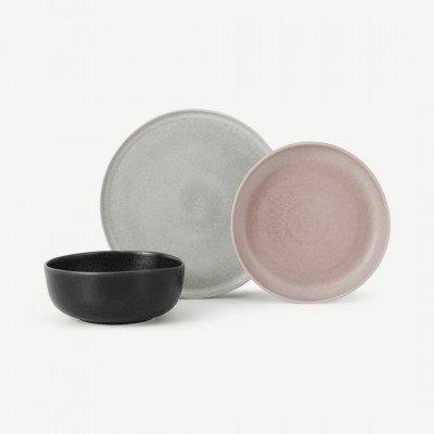 MADE.COM Ingram 12-delige serviesset, roze grijs & houtskoolgrijs