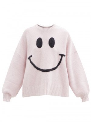 Joostricot - Smiley Face-embroidered Merino-wool Blend Sweater - Womens - Light Pink
