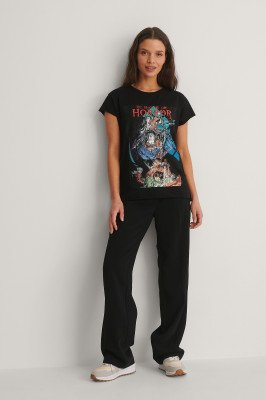 Warner Bros. Warner Bros. Bedrukt T-Shirt Met Ruw Randje - Black