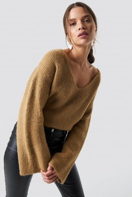 Iva Nikolina x NA-KD Iva Nikolina x NA-KD Loose Fit Knitted Sweater - Beige