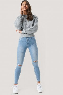 NA-KD NA-KD Skinny High Waist Destroyed Jeans - Blue