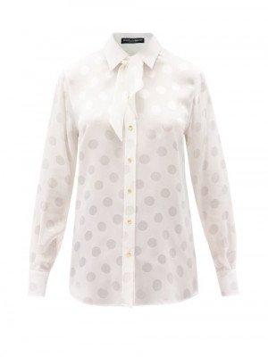 Matchesfashion Dolce & Gabbana - Neck-tie Polka-dot Silk Blouse - Womens - White