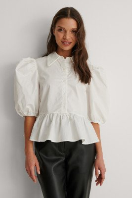 NA-KD Trend NA-KD Trend Top Met Pofmouwen - Offwhite