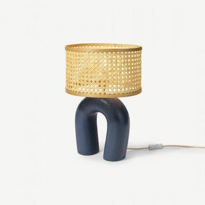 MADE.COM Otha tafellamp van keramiek, blauw