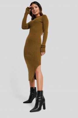 NA-KD NA-KD Side Split Ribbed Knit Dress - Brown