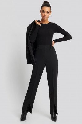 NA-KD Classic NA-KD Classic Front Slit Suit Trousers - Black