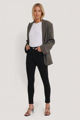NA-KD NA-KD Skinny High Waist Open Hem Jeans - Black