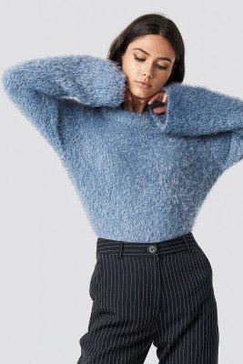 NA-KD NA-KD Feather Wide Sleeve Sweater - Blue