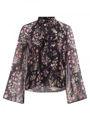 Matchesfashion Giambattista Valli - Floral-print Silk-georgette Blouse - Womens - Black Print