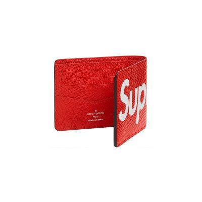 Louis Vuitton Louis Vuitton x Supreme Slender LV Wallet EPI Red (FW17)