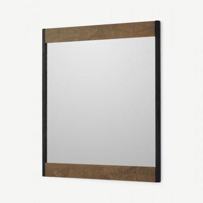 MADE.COM Maxine wandspiegel, 50 x 58 cm, mangohout en zwart