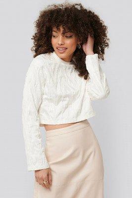 NA-KD Cropped Sweater - White