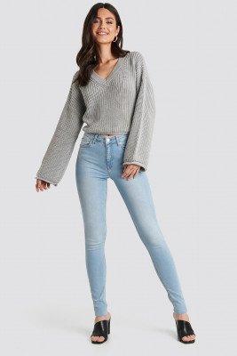 NA-KD NA-KD Skinny High Waist Raw Hem Jeans Tall - Blue