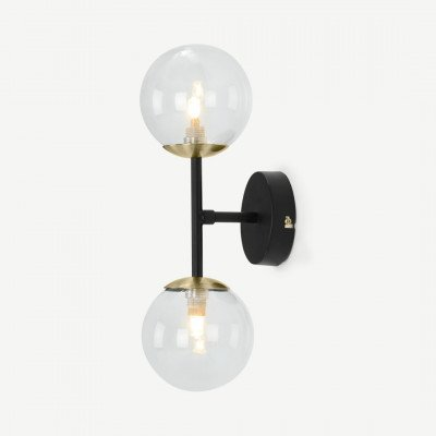 MADE.COM Globe wandlamp, zwart, antiek messing en rookglas