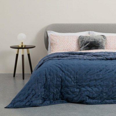 MADE.COM Tabitha doorgestikte bedsprei, 225x220cm, middernachtblauw