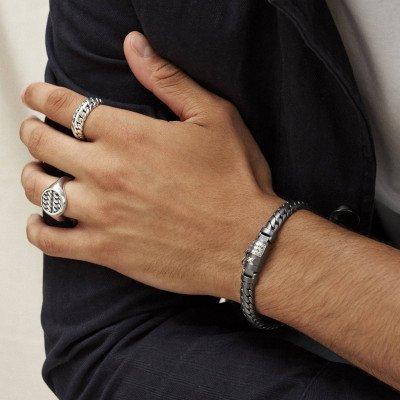Buddha to Buddha Buddha to Buddha Armband Ben XS Black Rhodium Zilver