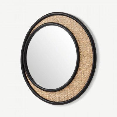MADE.COM Coretta ronde wandspiegel van rotan 80cm, lichtbeige en zwart