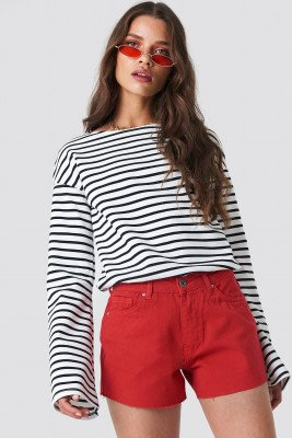 Trendyol Cutted Hem Denim Shorts - Red