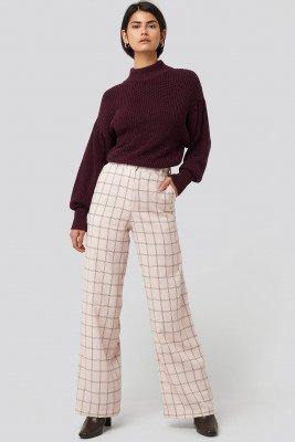 NA-KD Classic NA-KD Classic Big Check Wide Leg Suit Pants - Beige