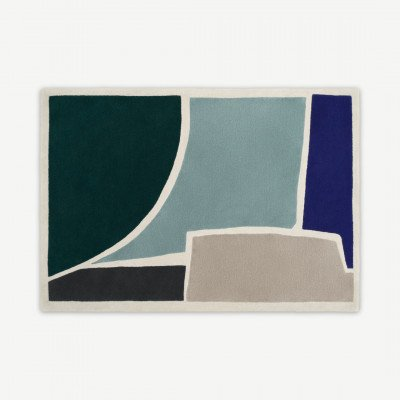 MADE.COM Juula Large handgetuft wollen vloerkleed, 160 x 230cm, blauw