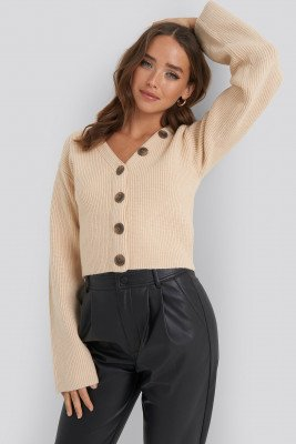 NA-KD NA-KD Short Buttoned Knitted Sweater - Beige