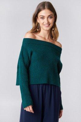 NA-KD NA-KD Off Shoulder Rib Knitted Sweater - Green,Blue