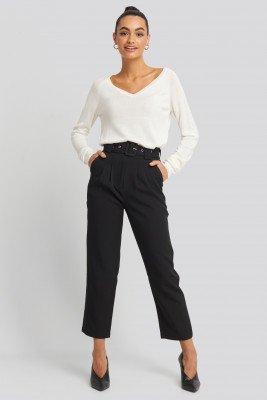 NA-KD Trend NA-KD Trend Cropped Belted Pants - Black
