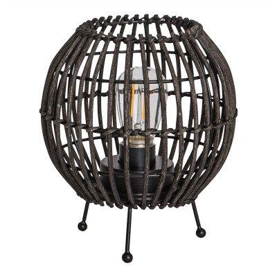 Firawonen.nl PTMD adela zwart rattan led tafel lamp rond op