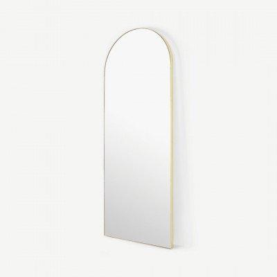 MADE.COM Arles grote staande spiegel, 65 x 170 cm, geborsteld messing