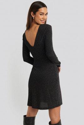 NA-KD Party NA-KD Party Glittery V-neck Dress - Black