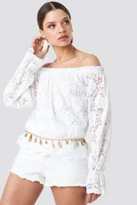 NA-KD Boho Wide Cuff Off Shoulder Lace Top - White