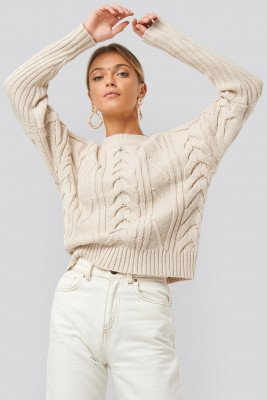 NA-KD Round Neck Cable Knitted Sweater - Beige