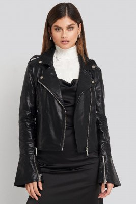 NA-KD Long Sleeve PU Biker Jacket - Black