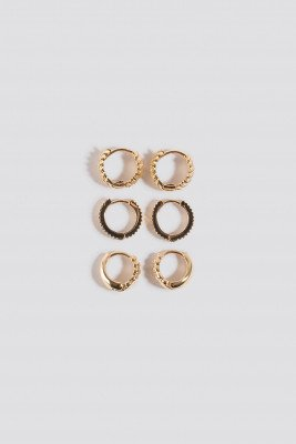 NA-KD Accessories 3-Pack Structured Tiny Hoops - Gold