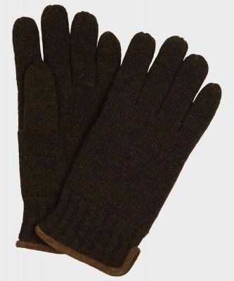 Michaelis Michaelis heren gebreide handschoenen met suède bruin