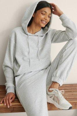 NA-KD Basic NA-KD Basic Organisch oversized geborstelde hoodie - Grey