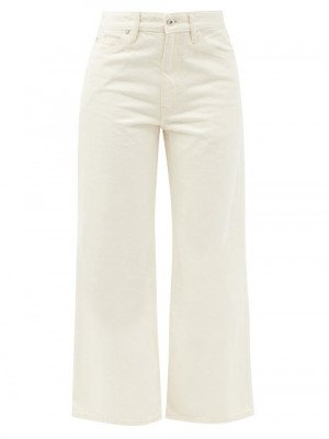 Matchesfashion Jil Sander - Flared Cropped Jeans - Womens - Cream