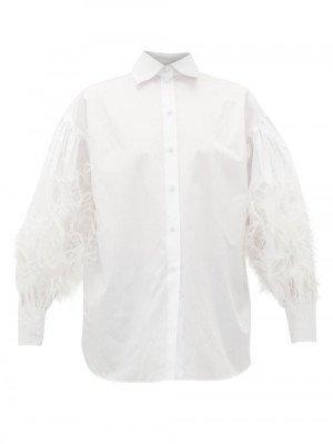 Matchesfashion Valentino - Feather-trimed Cotton Poplin Shirt - Womens - White