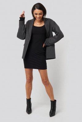 NA-KD Basic NA-KD Basic Deep Round Neck Ribbed Dress - Black