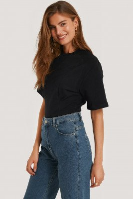 NA-KD Waist Dart Detail T-shirt - Black